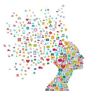 Kopf aus vielen Social-Media-Symbolen - Dein Digitales Ich