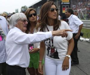 Bernie Ecclestone mit seiner Frau Fabiana an der Rennstrecke